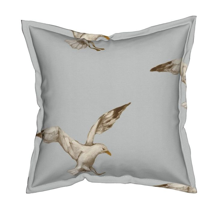 Serama Throw Pillow featuring Single_Seagull by traceyharveydesigns | Roostery Home Decor
