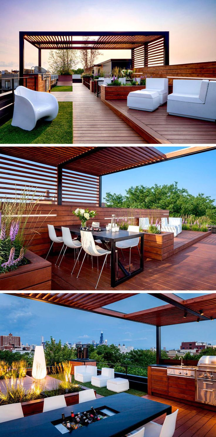 This rooftop entertaining area has all the essentials for hosting a party including ample lounge seating, an outdoor kitchen and dining table located under a pergola, and soft mood lighting.