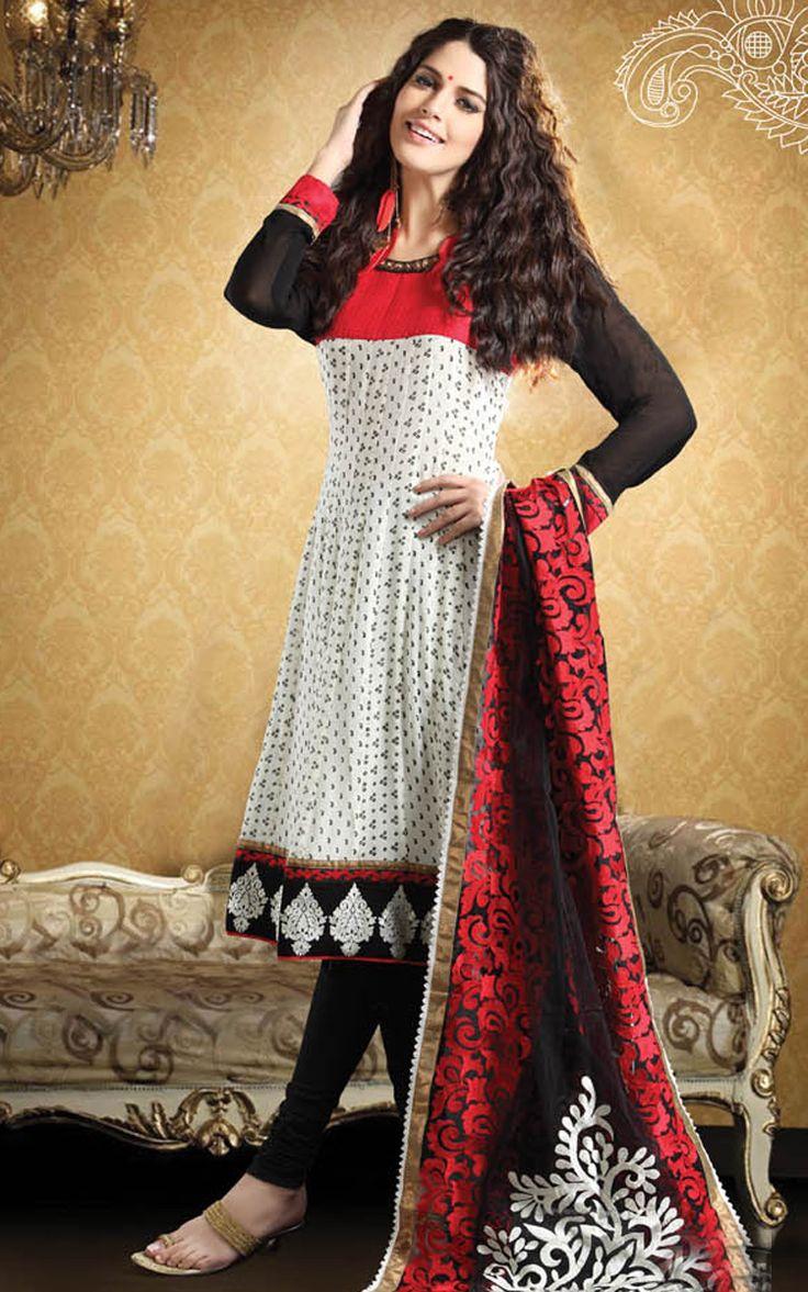 Off White & Black Georgette & Crepe Salwar #Suit