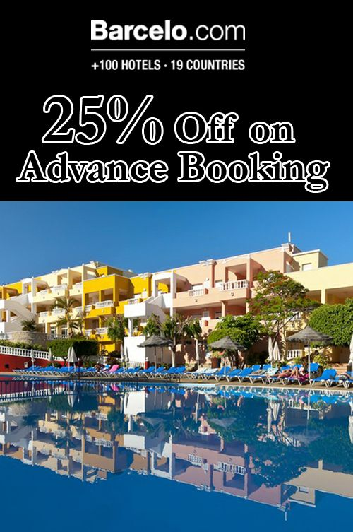 Barcelo Hotels is giving 25% discount in advanced booking. Place your order now to avail the discount. For more Barcelo Hotels Coupon Codes visit: www.couponcutcode.com/coupons/25-off-advance-booking/