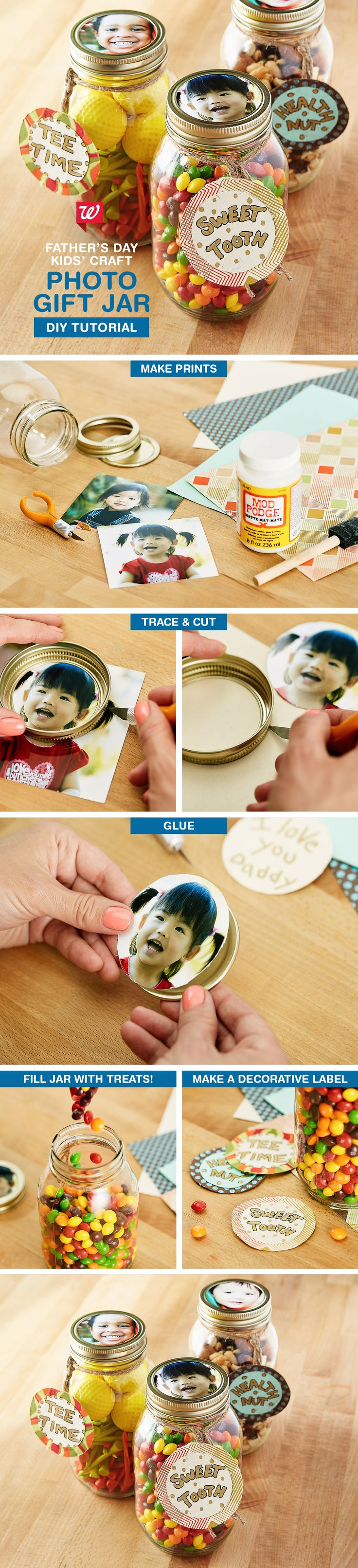 Easy kids' craft idea for Father's Day. Help the kids create a lasting gift Dad or Grandpa will adore. Fill a mason jar with his favorite things like candy, nuts, or golf tees, and use the lid to make a photo frame. See the how-to on our Smile Blog.