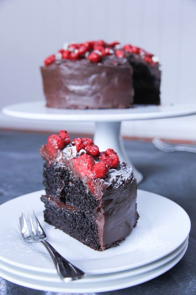 Dark chocolate, raspberry layer cake. 50% Cocoa Whittaker's chocolate - I only use the best! Wedding cake trial 1.