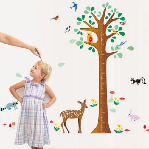Cute Animal Height Measure Animal pattern Wall sticker