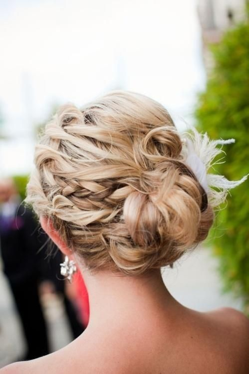 Get your funky side chignon by adding a braids