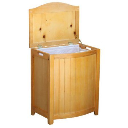Oceanstar BHP0106N Bowed Front Laundry Wood Hamper, Natural Finished