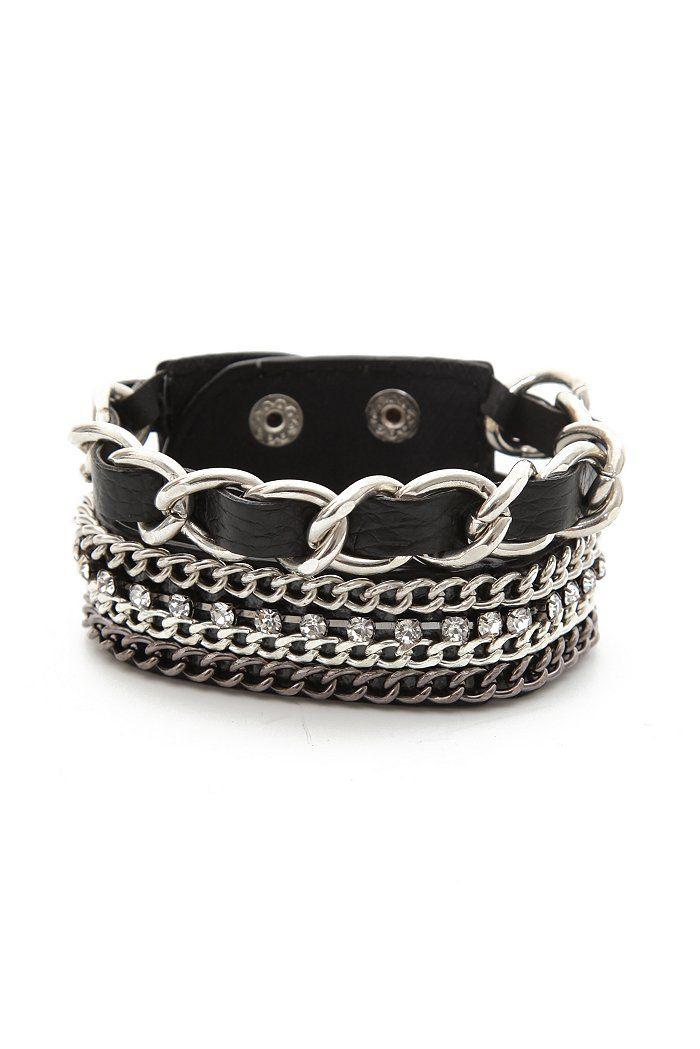 hot topic black chain strap bracelet chains faux leather metal goth gothic punk edgy alternative http://bijouxcreateurenligne.fr/product-category/bracelet-fantaisie/
