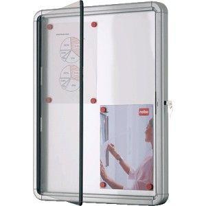 Vitrina de anuncios con fondo de metal y diseño moderno con marco de aluminio.  Cristal acrílico de seguridad de gran resistencia.