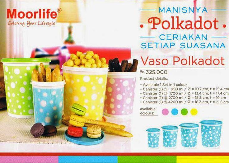 Moorlife Vaso Polkadot Rp.325.000,- 1 set terdiri dari 4 pcs dan 4 ukuran berbeda. Pilihan warna yang manis cocok untuk menghiasi dapur rumah ANda