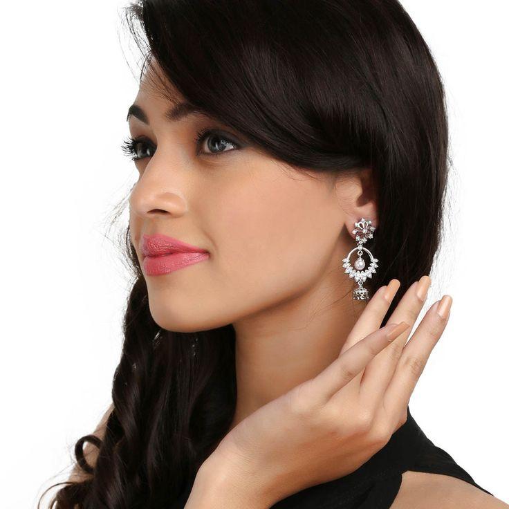 Zircon Earring 58711W #Kushals #Jewellery #Fashion #Indian #Jewellery #Earrings #Designer  #Chandbali #modern #unique