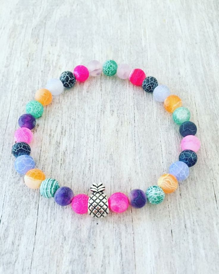 """🍍Pineapple bracelet🍍 6mm Frosted Dragon Veins Agate 7"""""""