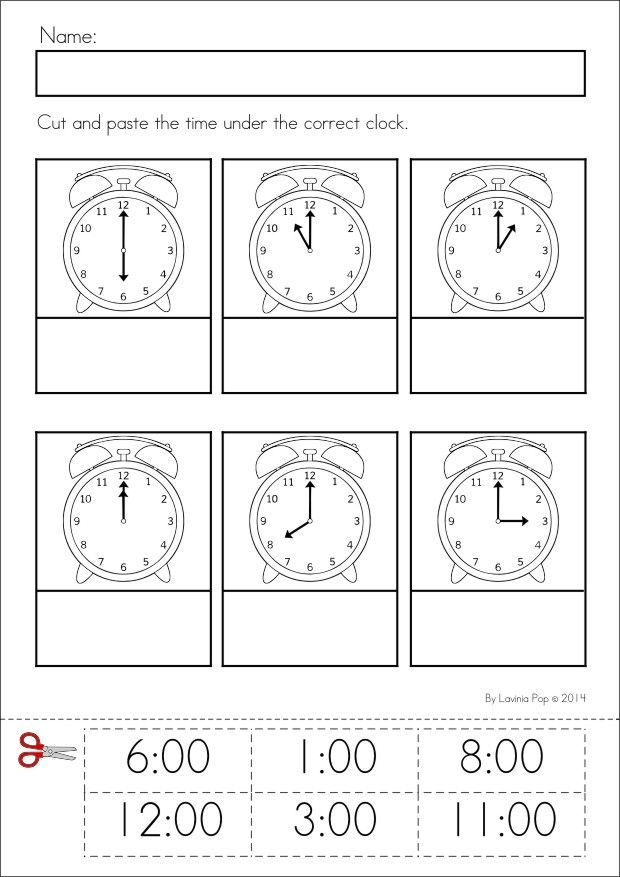 Kindergarten SPRING Math & Literacy unit. 93 pages in total. A page from the unit: time to the hour