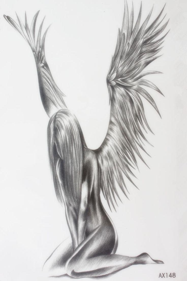 """צער גודל נקבת מלאך 22x12 ס""""מ מותג חדש קעקוע אמנות גוף קעקוע זמני מדבקות קעקוע קעקוע חינה סקסית אקזוטית"""