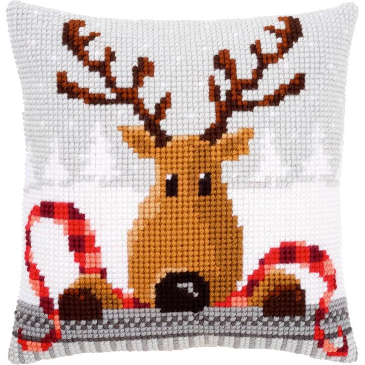 """Reindeer With A Red Scarf I Cushion Cross Stitch Kit-16""""X16"""" Más"""