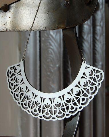 Anuk Harvey - White Leather Laser cut necklace