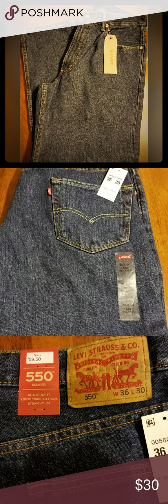 Men's Levi 550 Jeans Men's NWT Levi 550 Jeans; color blue; relaxed fit; never worn(not even tried on); W 36 L 30; No trades or offers accepted on this item Levi's Jeans Relaxed