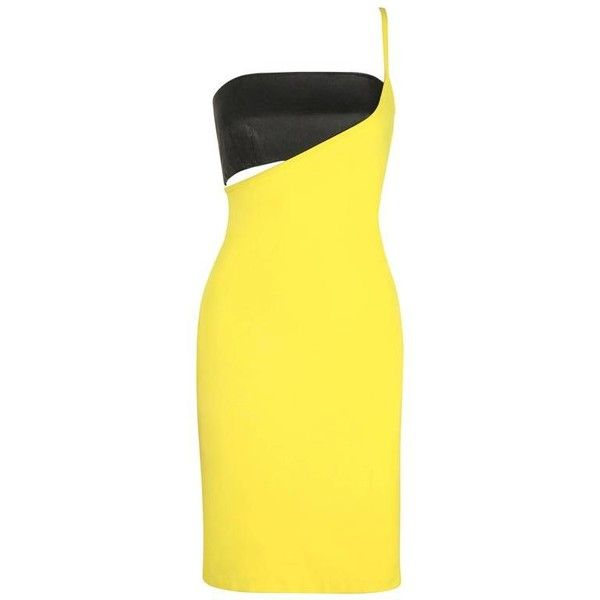Preowned Versus Gianni Versace C.1990 Yellow Black One Shoulder Dress... ($1,454) ❤ liked on Polyvore featuring dresses, versace, yellow, suits, one shoulder dress, knee-length dresses, leather bodycon dresses, one shoulder bodycon dress and bandeau bikini top