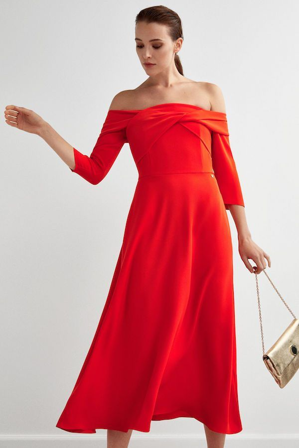 Catálogo Pedro Del Hierro Primavera Verano 2020 Moda En Pasarela Red Formal Dress Dresses Off Shoulder Dress