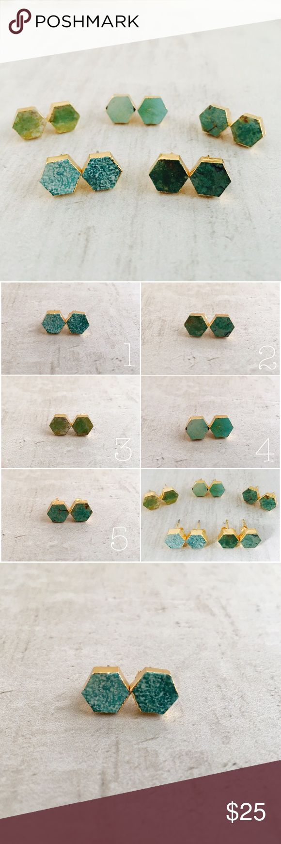 """Natural Turquoise Hexagon Studs Beautiful natural turquoise hexagon studs. Gold dipped, each earring is a unique, handmade master piece. Choose one of five treasured sets. Picture 2 shows your choices - picture one coordinates front to back, left to right. The individual pictures coordinate 1 - 5. Due to the nature of these beauties any """"flaws"""" contribute to the individual characteristic of each piece therefore are highly regarded. 1/8"""" x 3/8"""" Jewelry Earrings"""