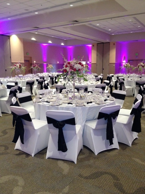 Our Black Crinkle Taffeta Sashes And White Spandex Chair Covers Wedding ColorsWedding IdeasWedding