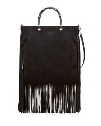 608ab1e973f051 Bamboo Suede Fringe Shopper Tote Bag - - #BambooBags | Vintage ...