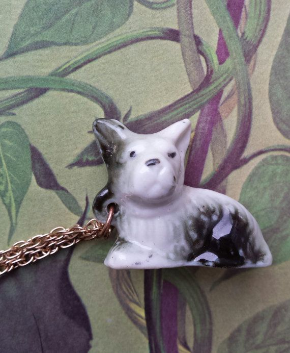Vintage Necklace Dog handmade jewelry china pendant by WildFernArt