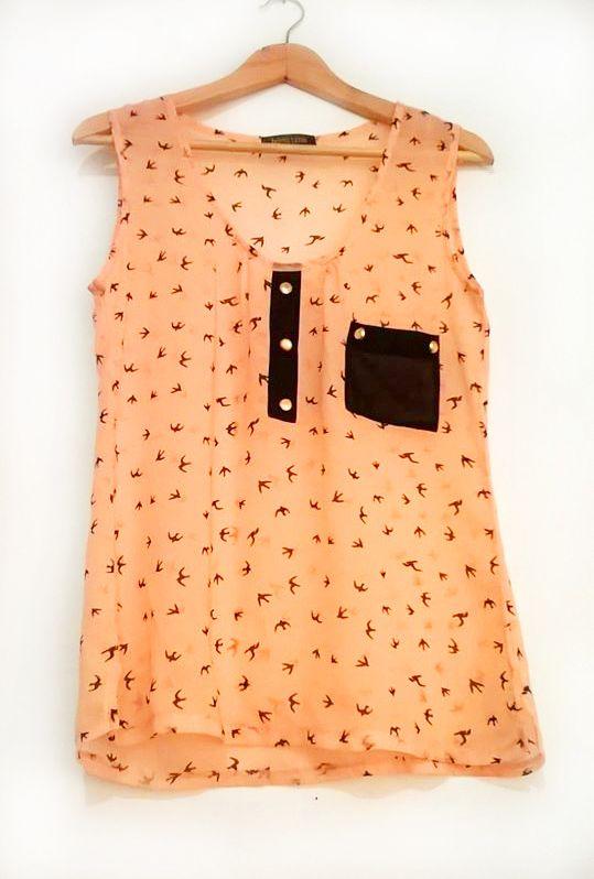 Blusa #Cámelia estampado de gaviotas color palo de rosa.