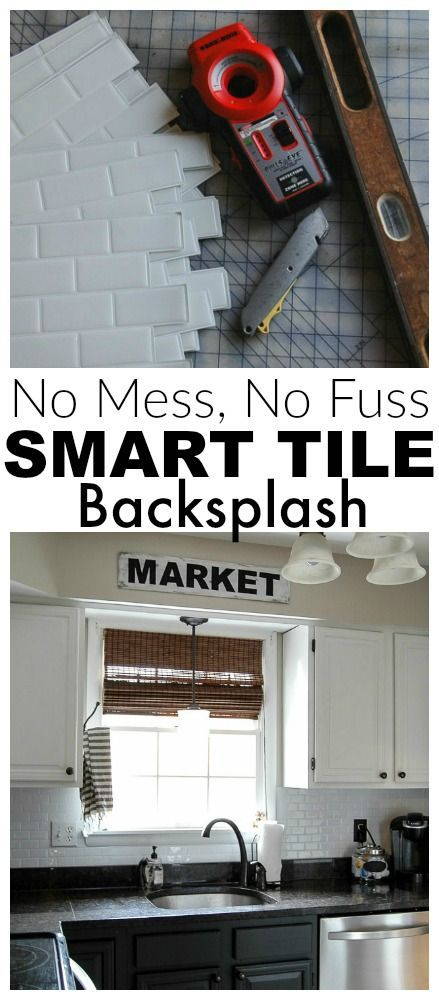 AWESOME! Update your kitchen with a no mess, no fuss tile backsplash from Smart Tiles - Little House of Four