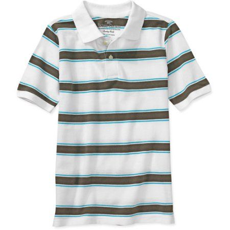 Faded Glory - Boys' Stripe Polo Shirt, White