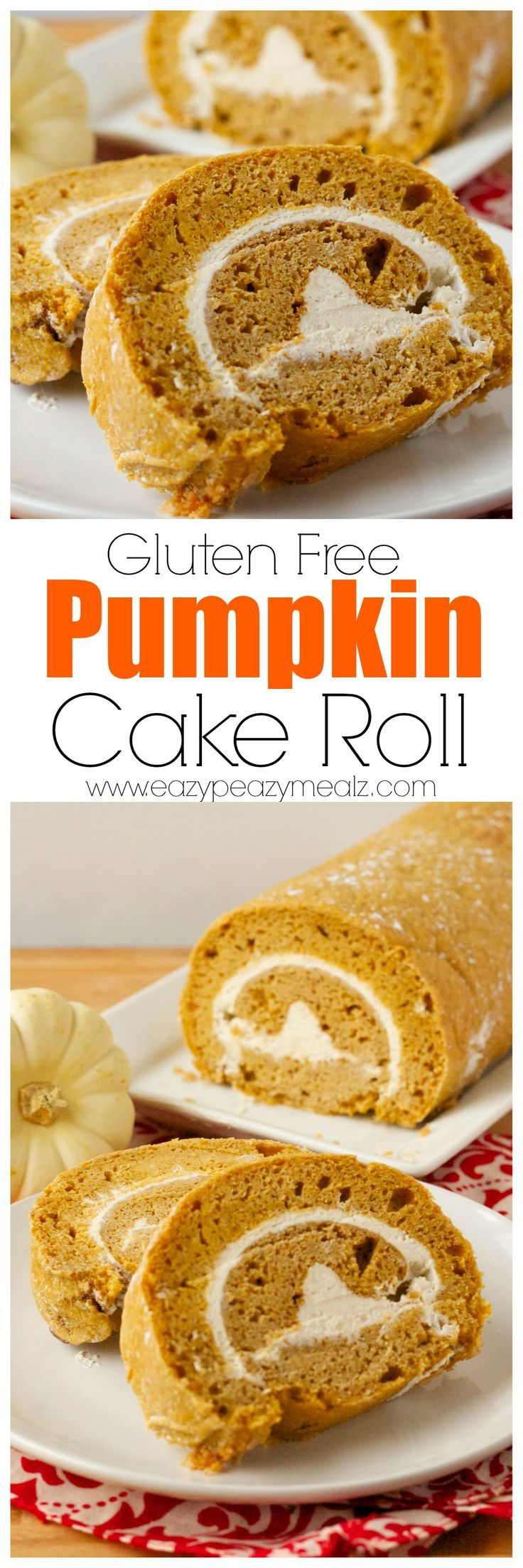 Pumpkin Cake Roll filled with cream cheese filling, and totally gluten free! Serious deliciousness to be had here. - Eazy Peazy Mealz