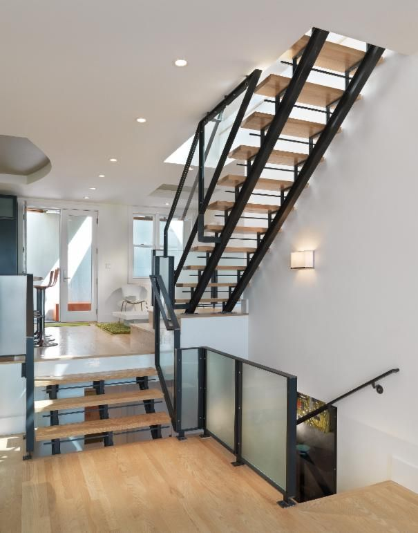 Photo of White Modern Stairs project in San Francisco, CA by Rossington Architecture
