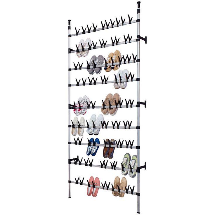Mooi en degelijk schoenenrek van de duitse fabrikant RUCOvoor als u écht veel schoenen heeft op te bergen!  Dit extra grote schoenenrek is dan ook geschikt voor maar liefst 90 paar schoenen!  Afmetingen: 110 x 250 tot 300 x 20.5 cm (breedte, hoogte, diepte).Het rek is handig en snel uit te schuiven van 250 tot 300 cm en wordt tussen vloer en plafond ingeklemd.  Net te hoog of te breed?Het schoenenrek is zowel in de hoogte als breedte aan te passen. Hiervoor dienen slechts de alumini...