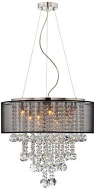 A transitional style chandelier featuring a brushed nickel housing and canopy, with hanging strands of beautiful clear glass crystal. A black sheer drum shade surrounds the crystals and light and creates a magnificently sophisticated look.