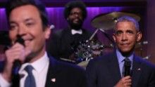 THE TONIGHT SHOW STARRING JIMMY FALLON -- Episode 0485 -- Pictured: (l-r) Host Jimmy Fallon and President Barack Obama Slow Jam The News on June 9, 2016 -- (Photo by: Andrew Lipovsky/NBCU Photo Bank via Getty Images)