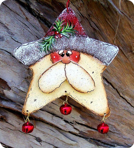 Jingle Star Santa Ornament von CountryCharmers auf Etsy