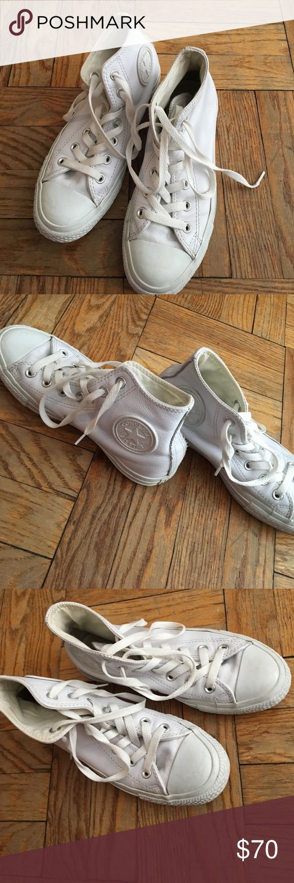 All Bright White Leather Converse Chuck Taylors high top, look new- worn maybe 10 times. Men's 5/Women's 7 Converse Shoes Sneakers