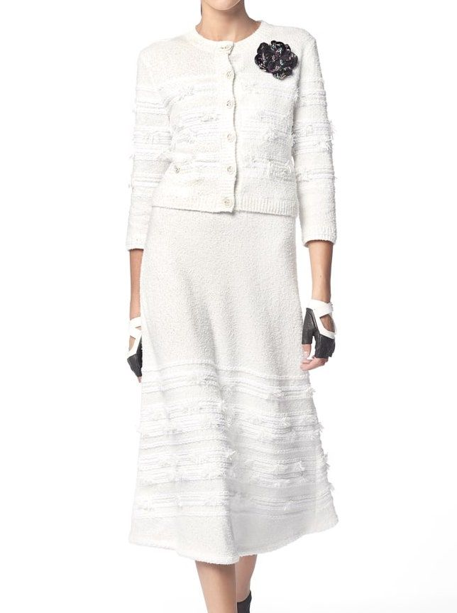 418935cf12b897 Chanel - PRE SS2019 | White cotton & nylon cardigan & skirt ($3,800 +  $3,400)