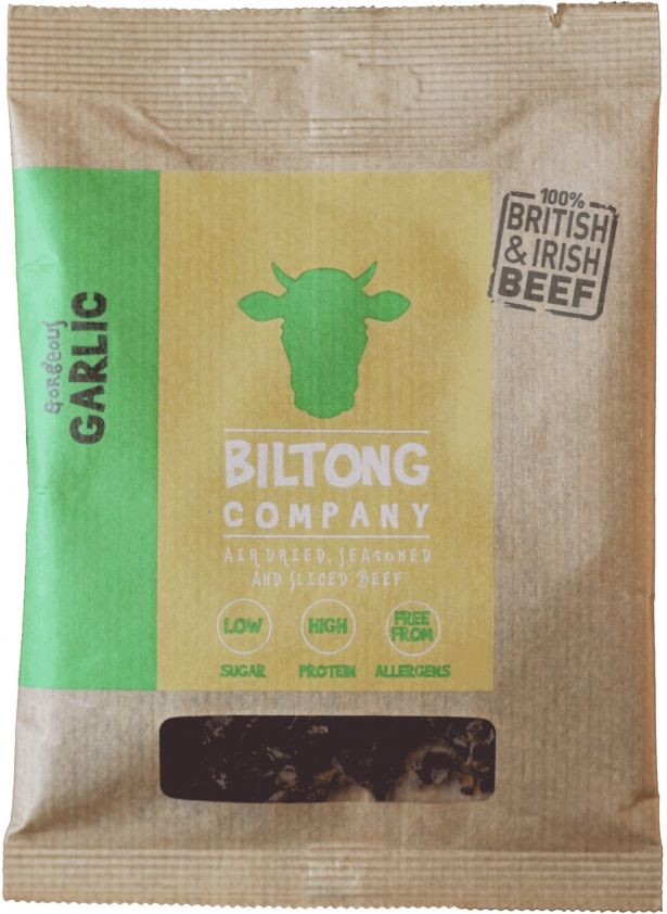 Garlic Biltong - 35g Bag - Made Using 100% British Grass-Fed Beef by The Chichester Biltong Company on Gourmly