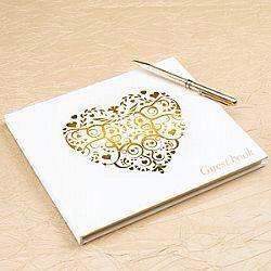 Βιβλιο ευχων Ιβουαρ/χρυσό με ρομαντική καρδια