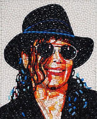 Mosaic of Michael Jackson made of hundreds of colored prescription pills