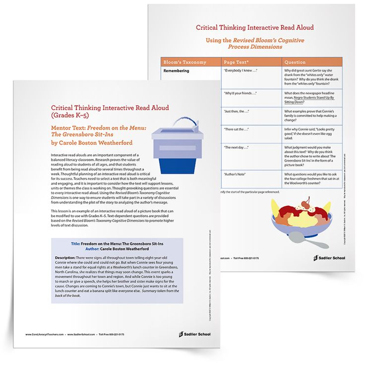 Interactive read aloud freedom on the menu the for Interactive read aloud lesson plan template