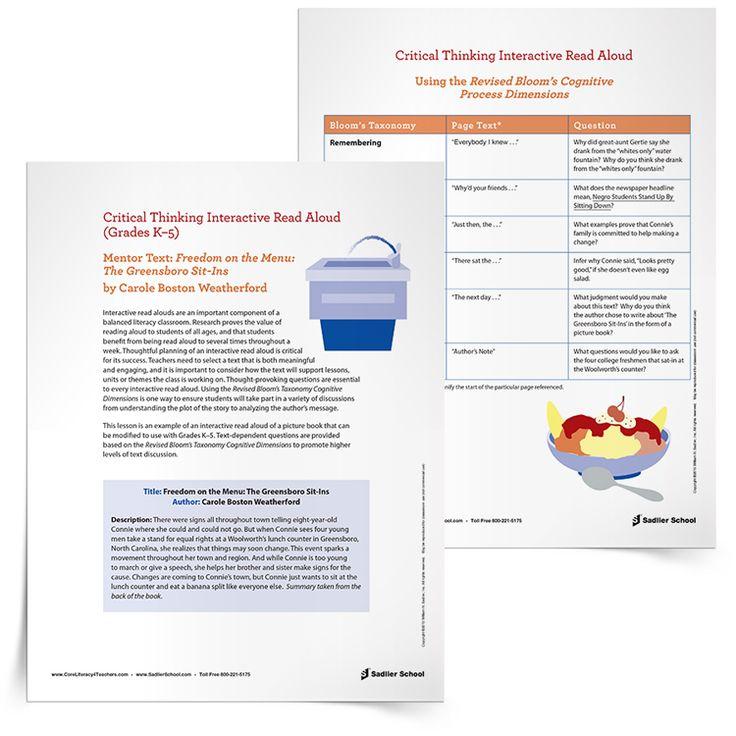 interactive read aloud lesson plan template - interactive read aloud freedom on the menu the