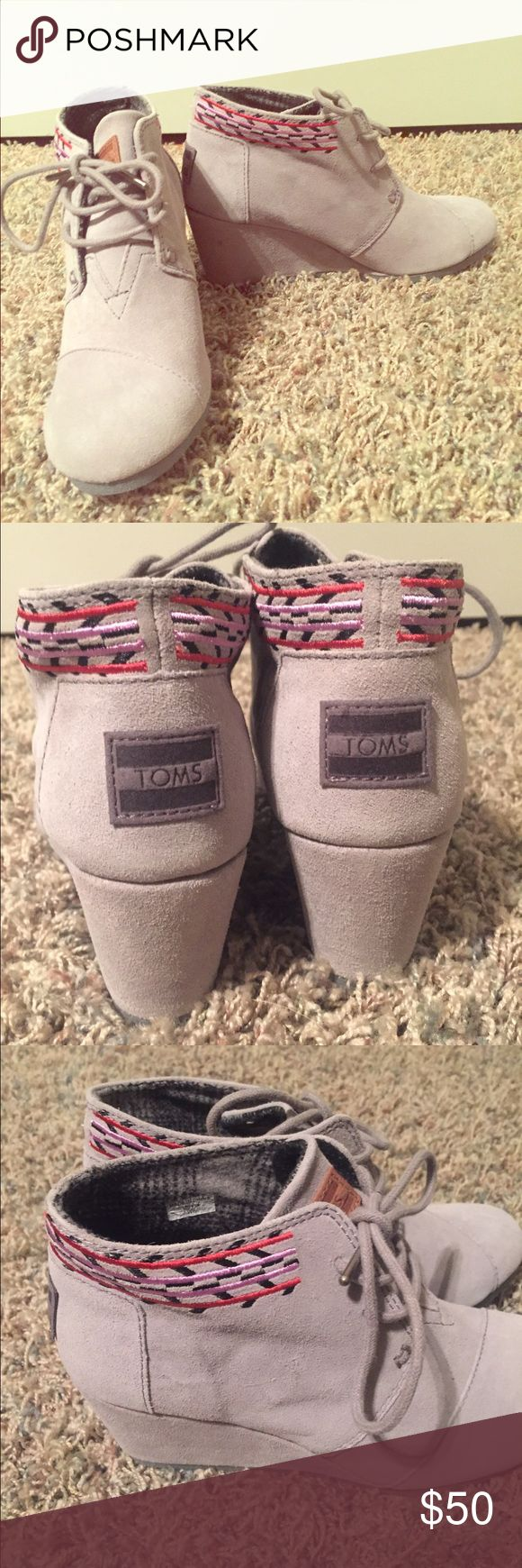 NEW TOMS desert wedges Super cute design!! New with box and TOMS sticker. TOMS Shoes Wedges
