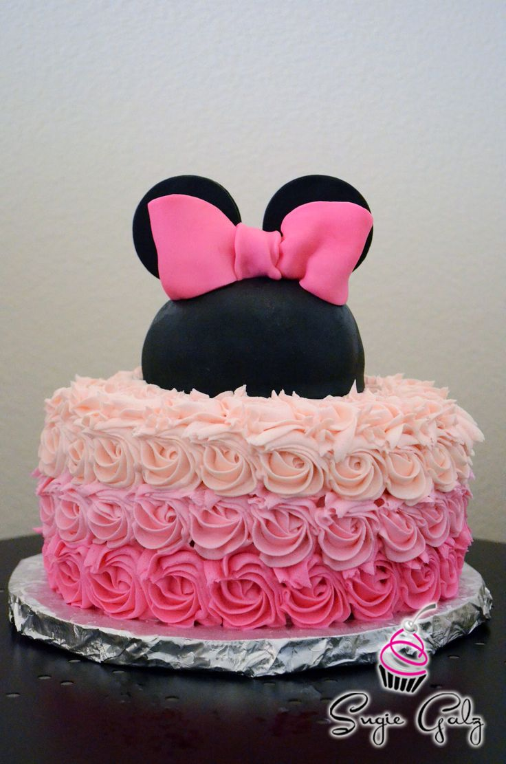 Pretty Pink Ombre Buttercream Minnie Mouse Birthday Cake