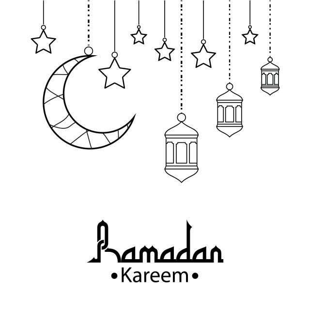 رمضان كريم مع الخلفية القمر نجوم و مفهوم فانوس رمضان مبارك بطاقات المعايدة دعوة إلى الجالية المسلمة التوضيح النواقل بالأبيض والأسود نمط الخط Ramadan Kareem Black And White Lines Kareem
