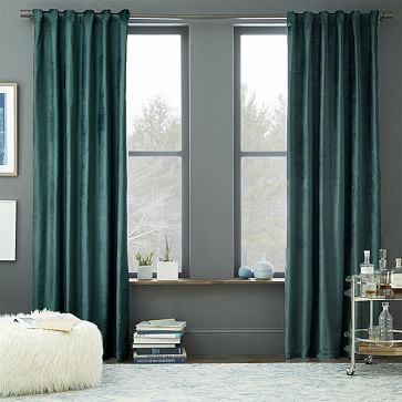 West Elm Luster Velvet Curtain   The Blue Stone Is Such A Pretty Color In  Person · Blue Velvet CurtainsTeal ...