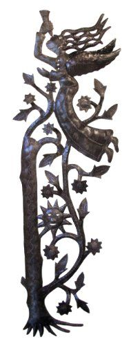 Le Primitif Galleries Haitian Recycled Steel Oil Drum Outdoor Decor 1125 by 3375Inch Vertical Angel Facing Left -- Be sure to check out this awesome product. (This is an affiliate link and I receive a commission for the sales)