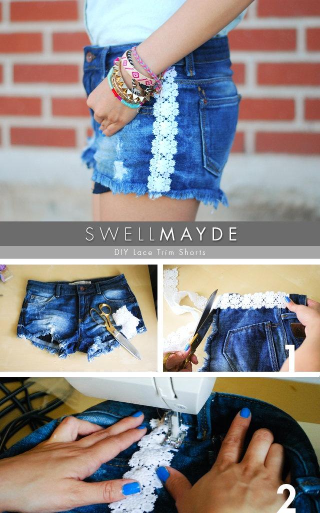 swellmayde: DIY   Lace Trim Denim Shorts (Part 2)