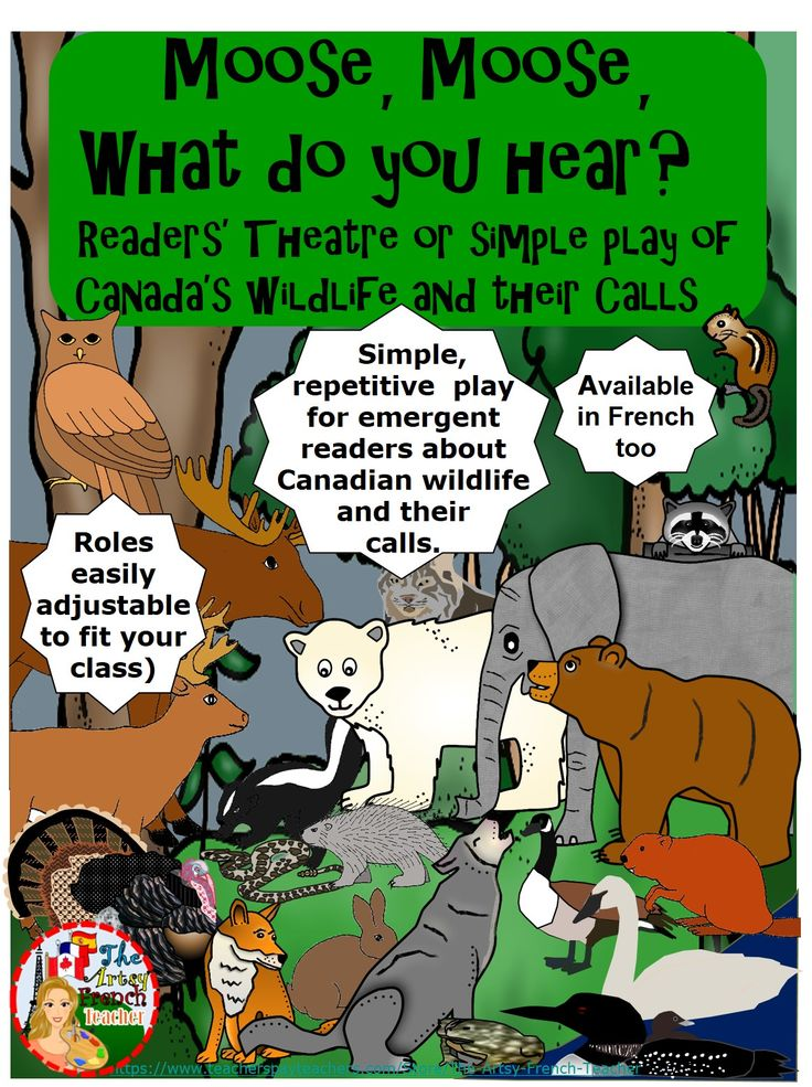 This simple, repetitive Readers' Theatre or Play is great for Primary emergent readers. Children will love to learn vocabulary about Canadian wildlife and their sounds. This resource could be used during Hallowe'en for it would give the students a chance to dress up in non-scary apparel. Alternatively it could be used during S.S.'s Canadian Provinces or with the Science unit - Characteristics of Living Things. Tips for presenting and mask-making are included. An assembly crowd-pleaser!