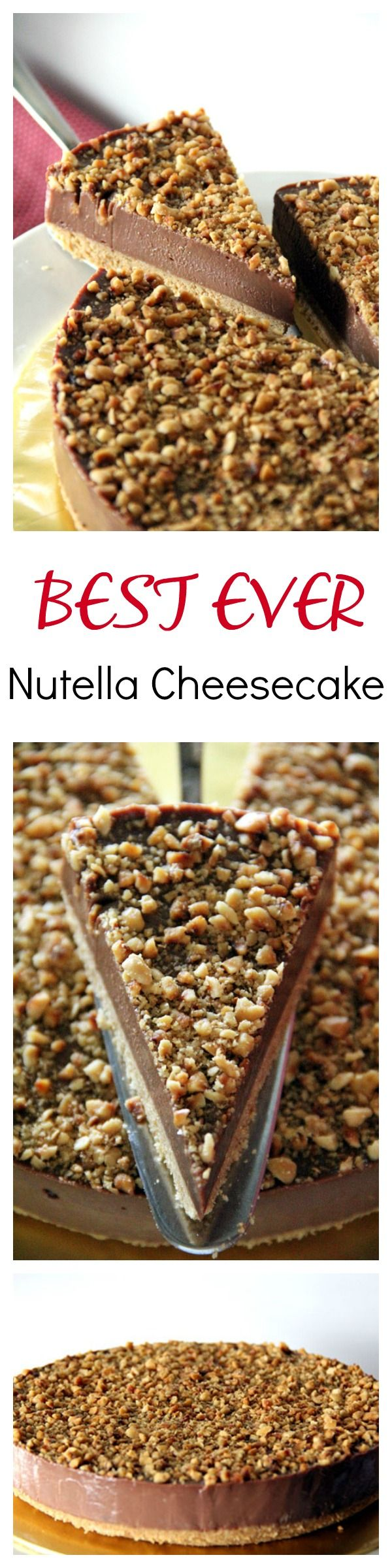 Best-ever NO BAKE Nutella Cheesecake with toasted hazelnut, to-die-for richest and creamiest cheesecake