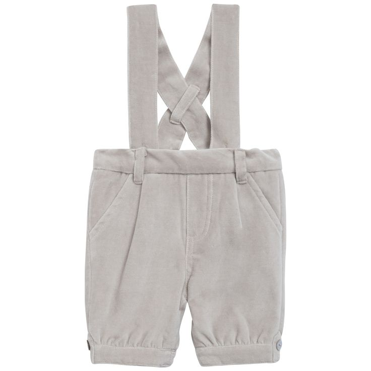Beige smooth velvet dungarees #outfit #FW15 #fall #winter #kidsfashion #ceremony #beige #smooth #velvet #dungarees